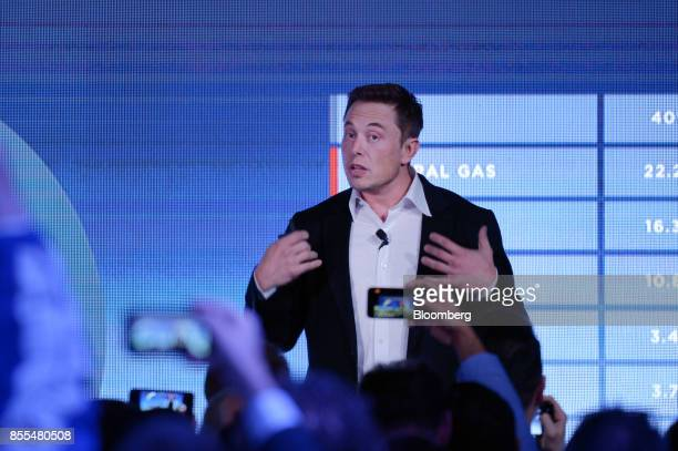 Elon Musk cofounder and chief executive officer of Tesla Inc speaks during an event at the Hornsdale wind farm operated by Neoen SAS near Jamestown...