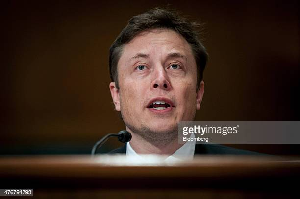 Elon Musk cofounder and chief executive officer of Tesla Motors Inc and Space Exploration Technologies Corp center testifies at a Senate...