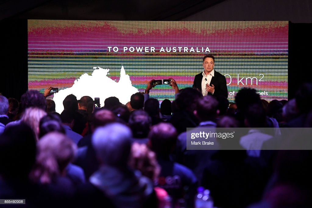 Elon Musk during his presention during Tesla Powerpack Launch Event at Hornsdale Wind Farm on September 29, 2017 in Adelaide, Australia. Tesla will build the world's largest lithium ion battery after coming to an agreement with the South Australian government. The Powerpack project will be capable of an output of 100 megawatts (MW) of power at a time and the huge battery will be able to store 129 megawatt hours (MWh) of energy. Tesla CEO Elon Musk has promised to build the Powerpack in 100 days, or he will deliver it for free.