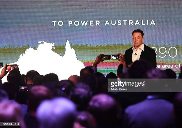 Elon Musk during his presention during Tesla Powerpack Launch Event at Hornsdale Wind Farm on September 29 2017 in Adelaide Australia Tesla will...