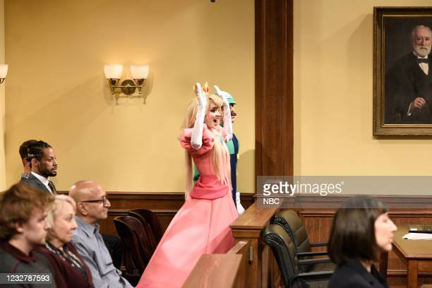 """Elon Musk"""" Episode 1803 -- Pictured: Grimes as Princess Peach during the """"Wario"""" sketch on Saturday, May 8, 2021 --"""