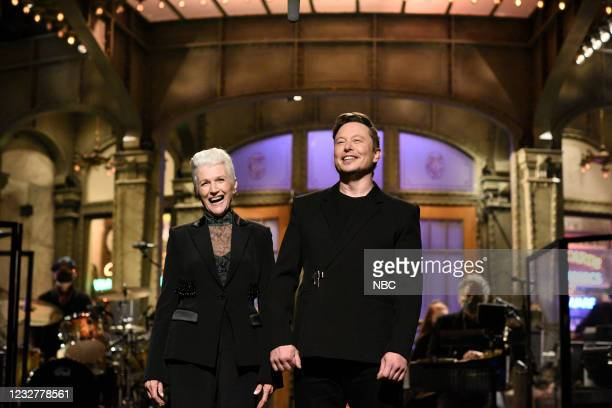 """Elon Musk"""" Episode 1803 -- Pictured: Host Elon Musk with his mother Maye during the monologue on Saturday, May 8, 2021 --"""