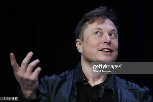 Elon Musk founder and chief engineer of SpaceX speaks at the 2020 Satellite Conference and Exhibition March 9 2020 in Washington DC Musk answered a...