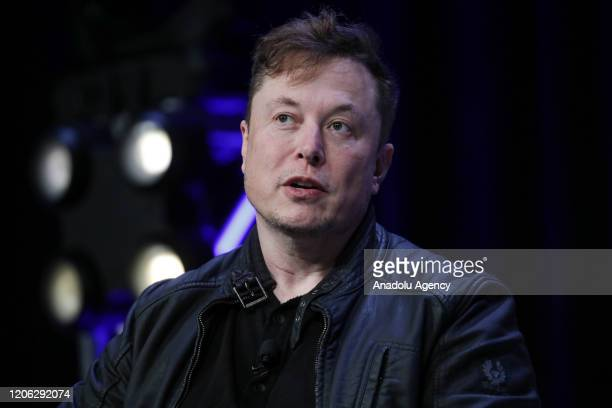 Elon Musk Founder and Chief Engineer of SpaceX speaks during the Satellite 2020 Conference in Washington DC United States on March 9 2020