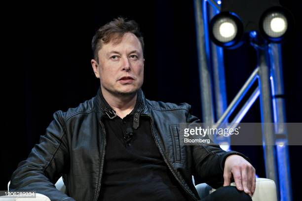 Elon Musk founder of SpaceX and chief executive officer of Tesla Inc speaks during a discussion at the Satellite 2020 Conference in Washington DC US...