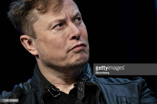 Elon Musk founder of SpaceX and chief executive officer of Tesla Inc listens during a discussion at the Satellite 2020 Conference in Washington DC US...