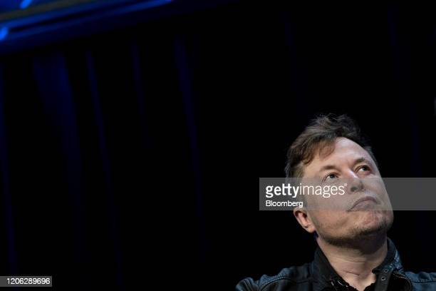 Elon Musk founder of SpaceX and chief executive officer of Tesla Inc pauses during a discussion at the Satellite 2020 Conference in Washington DC US...
