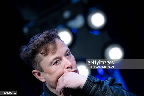 Elon Musk founder of SpaceX listens to a question during the Satellite 2020 at the Washington Convention CenterMarch 9 in Washington DC