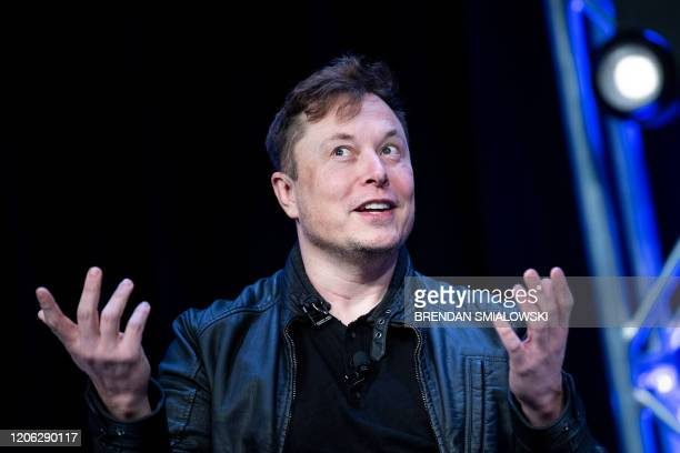 Elon Musk, founder of SpaceX, speaks during the Satellite 2020 at the Washington Convention CenterMarch 9 in Washington, DC.