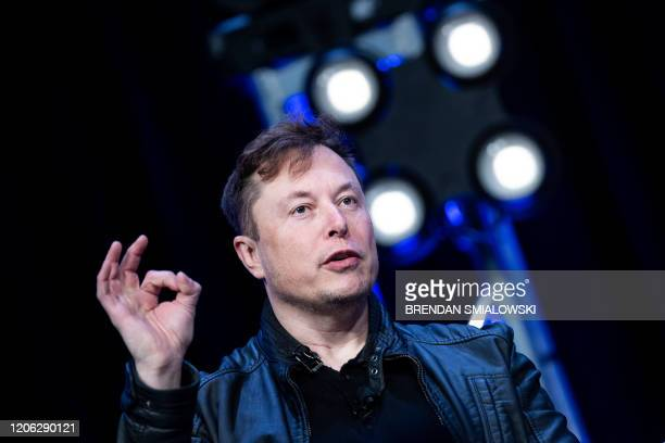 Elon Musk founder of SpaceX speaks during the Satellite 2020 at the Washington Convention CenterMarch 9 in Washington DC
