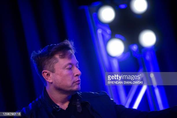 Elon Musk founder of SpaceX waits to speak during the Satellite 2020 at the Washington Convention CenterMarch 9 in Washington DC