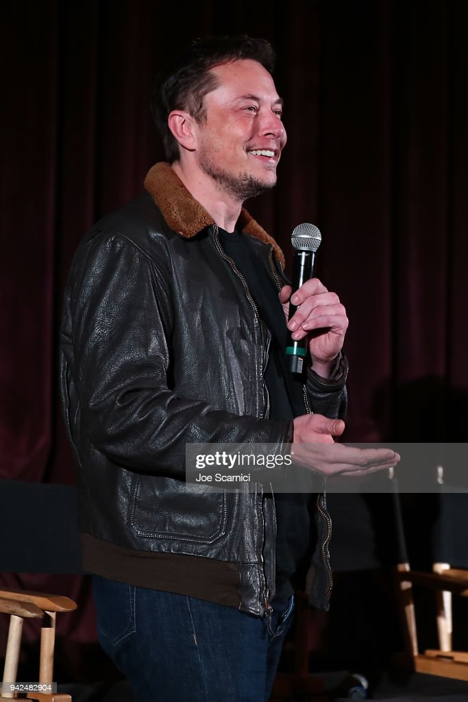 Elon Musk introduces the 'Do You Trust This Computer' premiere at Regency Village Theatre on April 5, 2018 in Westwood, California.