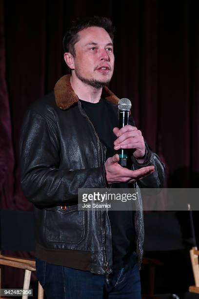 Elon Musk introduces the Do You Trust This Computer premiere at Regency Village Theatre on April 5 2018 in Westwood California