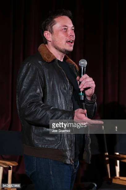 Elon Musk introduces the 'Do You Trust This Computer' premiere at Regency Village Theatre on April 5 2018 in Westwood California