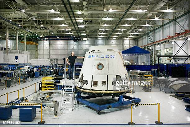 Elon Musk is photographed with the Dragon Spacecraft for Bloomberg Businessweek after it's successful mission on September 10 2012 at Space X...