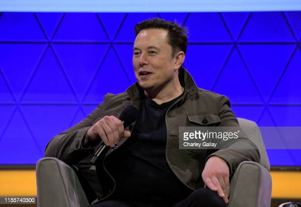 Elon Musk speaks onstage at the Elon Musk in Conversation with Todd Howard panel during E3 2019 at the Novo Theatre on June 13 2019 in Los Angeles...