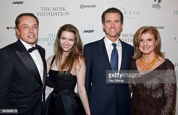 Elon Musk, Talulah Riley, Gavin Newsom and Arianna Huffington attend The Huffington Post pre-inaugural ball at the Newseum on January 19, 2009 in...