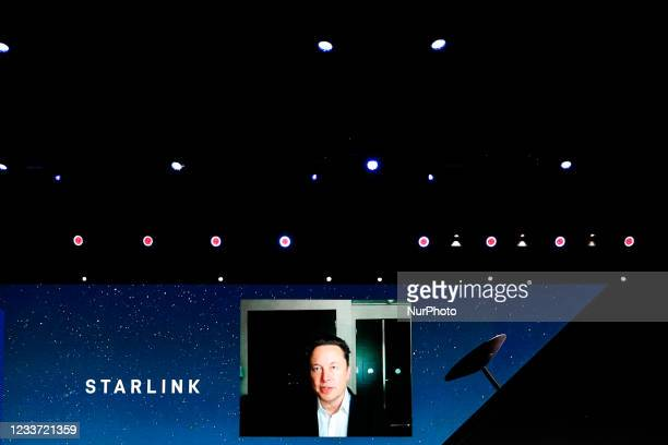 Elon Musk, the Chief Engineer of SpaceX, speaking about the Starlink project at MWC hybrid Keynote during the second day of Mobile World Congress...