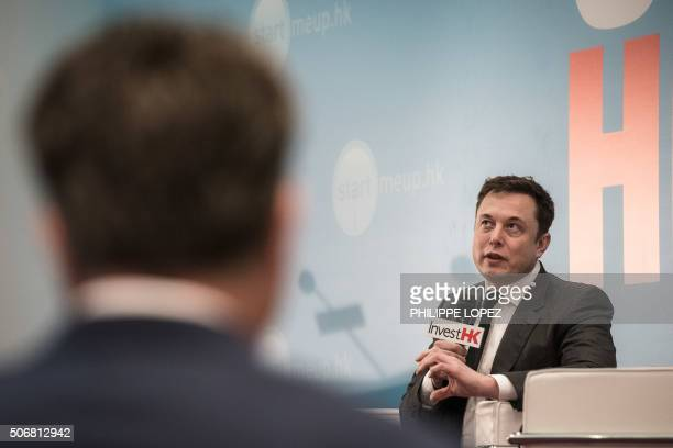 Elon Musk the cofounder of luxury allelectric US car maker Tesla speaks at the StartmeupHK Venture Forum in Hong Kong on January 26 2016 Plunging oil...