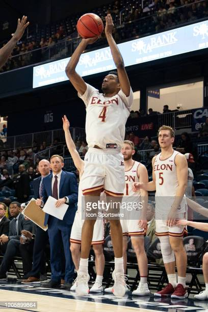 Elon Phoenix Guard / Forward Marcus Shefield II shoots a three point jump shot during the second half of the Colonial Athletic Association Men's...
