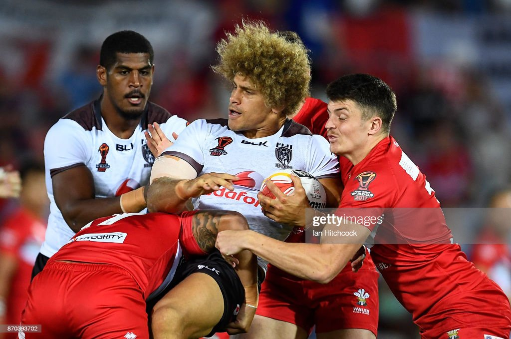 Eloni Vunakece of Fiji is tackled during the 2017 Rugby League World Cup match between Fiji and Wales at 1300SMILES Stadium on November 5, 2017 in Townsville, Australia.