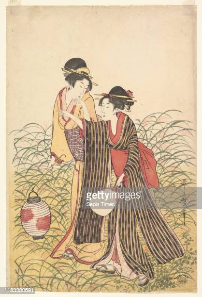Elopers in Musashino, Edo period , early 19th century, Japan, Right sheet of a triptych of polychrome woodblock prints; ink and color on paper, Image...