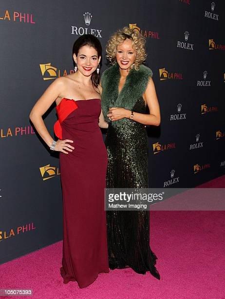 Eloísa Maturén and Julia Trappe arrive at the Los Angeles Philharmonic Opening Night Gala at the Walt Disney Concert Hall on October 7 2010 in Los...
