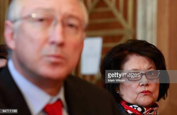 Elouise Cobell watches as Interior Secretary Ken Salazar testifies during a Senate Indian Affairs Committee hearing on Capitol Hill on December 17...