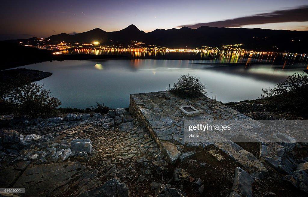 Elounda nightscape : Foto de stock