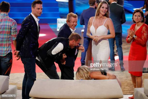 Eloy de Jong Willi Herren Zachi Noy Evelyn Burdecki Sarah Kern and Claudia Obert attend the finals of 'Promi Big Brother 2017' at MMC Studio on...