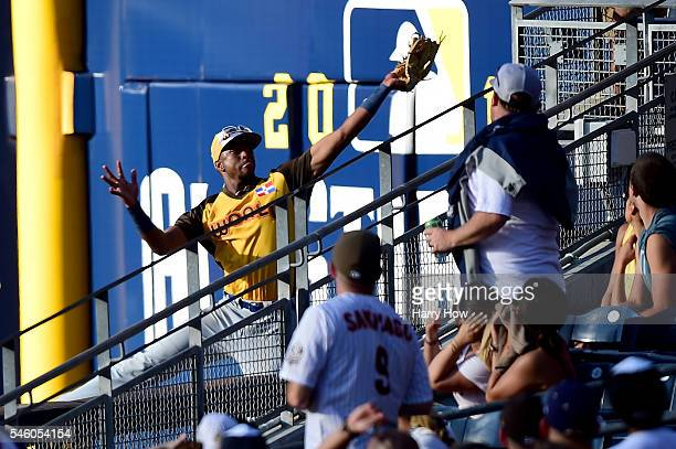 Eloy Jimenez of the Chicago Cubs and the World Team makes a catch in right field during the SiriusXM All-Star Futures Game at PETCO Park on July 10,...