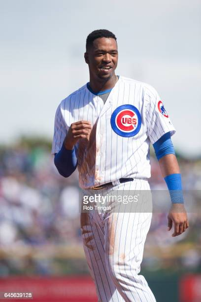 Eloy Jimenez of the Chicago Cubs looks on during a spring training game against the Cleveland Indians at Sloan Park on February 26 2017 in Mesa...