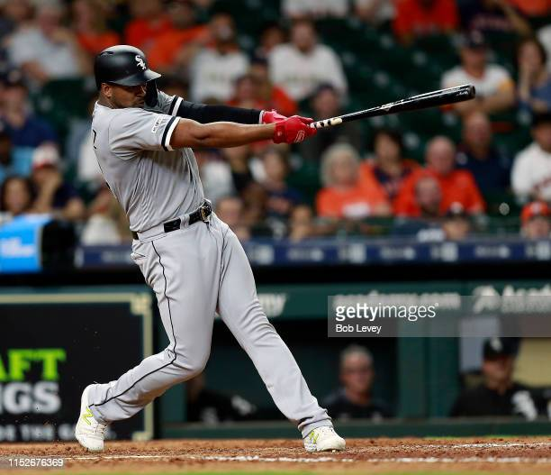 Eloy Jimenez of the Chicago White Sox at `bat against the Houston Astros at Minute Maid Park on May 22 2019 in Houston Texas
