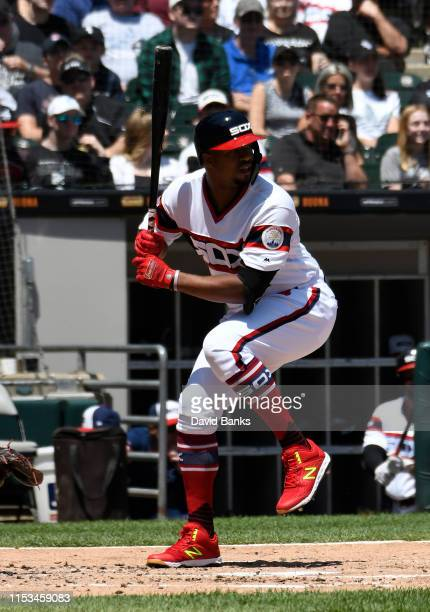 Eloy Jimenez of the Chicago White Sox bats against the Cleveland Indians at Guaranteed Rate Field on June 02 2019 in Chicago Illinois