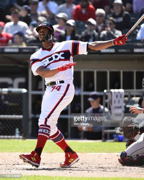 Eloy Jimenez of the Chicago White Sox bats against the Cleveland Indians on June 2 2019 at Guaranteed Rate Field in Chicago Illinois