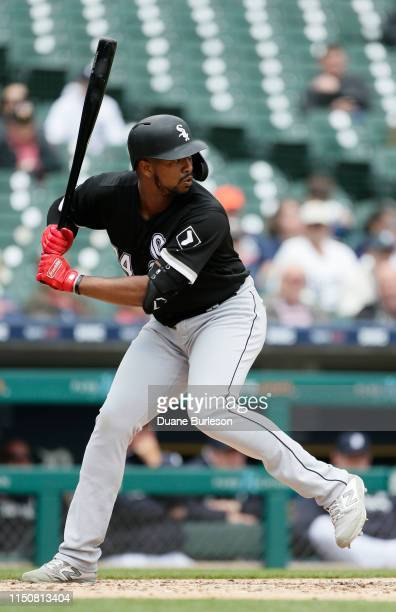 Eloy Jimenez of the Chicago White Sox bats against the Detroit Tigers at Comerica Park on April 18 2019 in Detroit Michigan