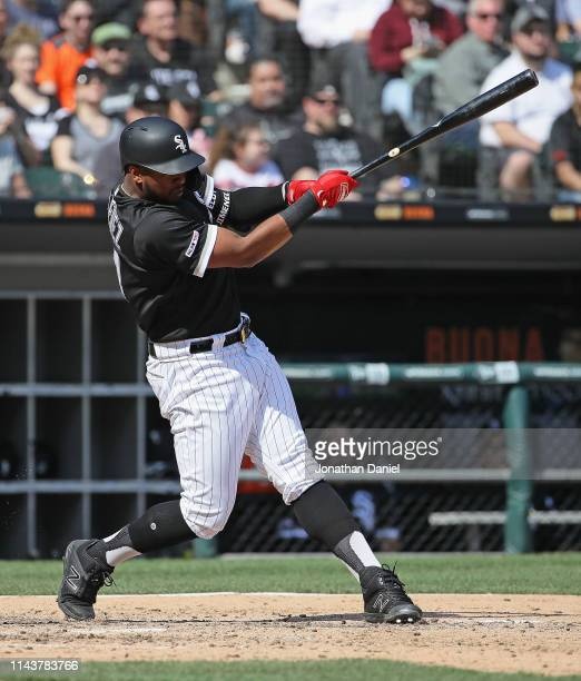 Eloy Jimenez of the Chicago White Sox bats against the Kansas City Royals at Guaranteed Rate Field on April 17 2019 in Chicago Illinois