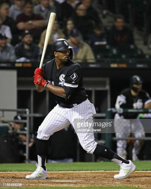 Eloy Jimenez of the Chicago White Sox bats against the Kansas City Royals at Guaranteed Rate Field on May 29 2019 in Chicago Illinois The White Sox...