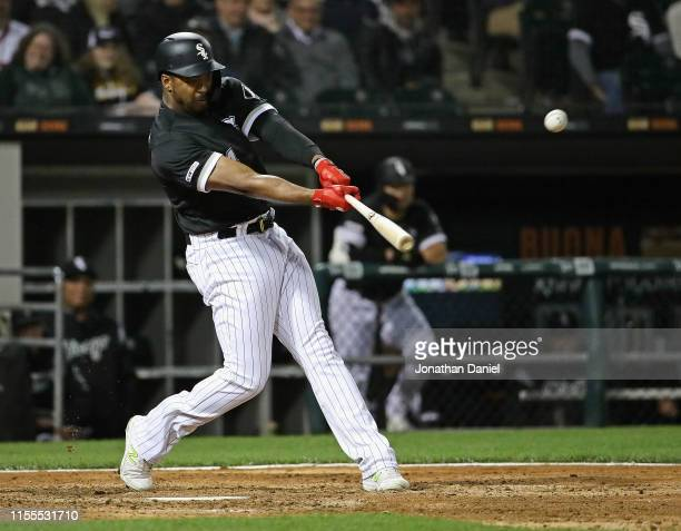 Eloy Jimenez of the Chicago White Sox bats against the Kansas City Royals at Guaranteed Rate Field on May 28 2019 in Chicago Illinois The White Sox...