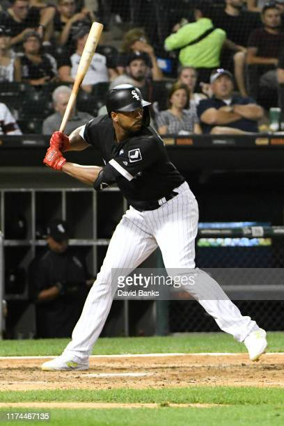 Eloy Jimenez of the Chicago White Sox bats against the Kansas City Royals at Guaranteed Rate Field on September 11 2019 in Chicago Illinois