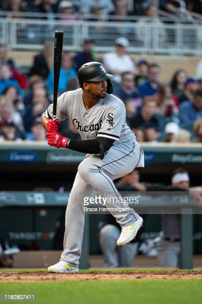Eloy Jimenez of the Chicago White Sox bats against the Minnesota Twins on May 24 2019 at the Target Field in Minneapolis Minnesota The Twins defeated...