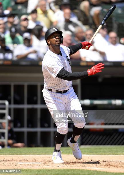 Eloy Jimenez of the Chicago White Sox bats against the New York Mets August 1 2019 at Guaranteed Rate Field in Chicago Illinois