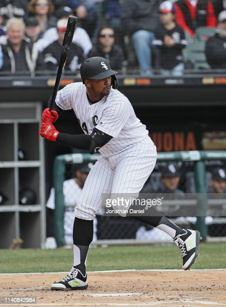 Eloy Jimenez of the Chicago White Sox bats against the Seattle Mariners during the season home opening game at Guaranteed Rate Field on April 05 2019...