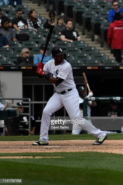 Eloy Jimenez of the Chicago White Sox bats against the Tampa Bay Rays at Guaranteed Rate Field on April 09 2019 in Chicago Illinois
