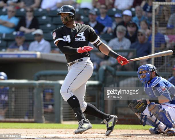 Eloy Jimenez of the Chicago White Sox bats against the Texas Rangers on March 1 2019 at Billy Parker Field at Surprise Stadium in Surprise Arizona