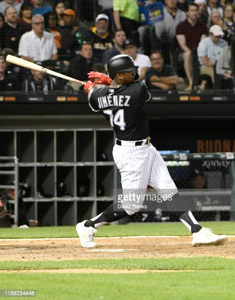 Eloy Jimenez of the Chicago White Sox bats against the Washington Nationals at Guaranteed Rate Field on June 10 2019 in Chicago Illinois