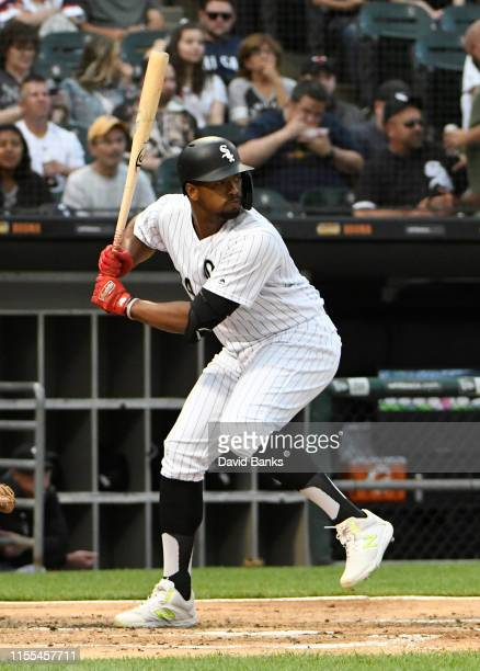 Eloy Jimenez of the Chicago White Sox bats against the Washington Nationals at Guaranteed Rate Field on June 11 2019 in Chicago Illinois