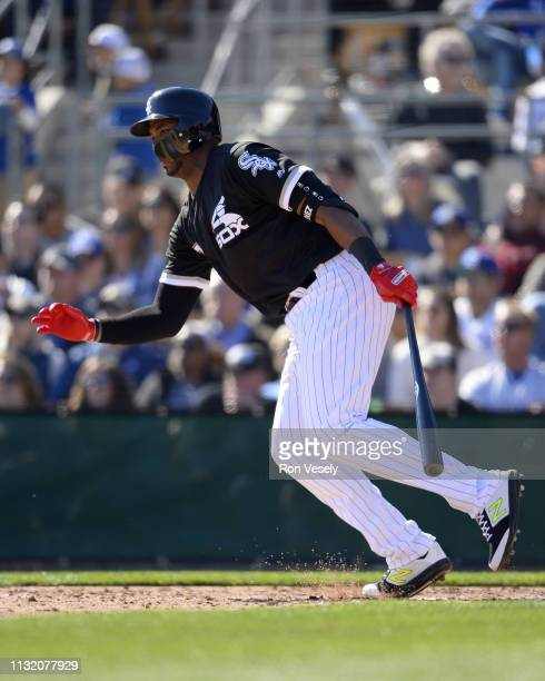 Eloy Jimenez of the Chicago White Sox bats during the game against the Los Angeles Dodgers on February 23 2019 at Camelback Ranch in Glendale Arizona
