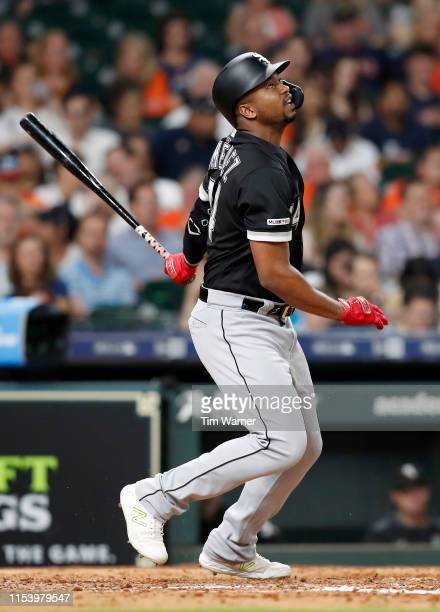 Eloy Jimenez of the Chicago White Sox bats in the fifth inning against the Houston Astros at Minute Maid Park on May 23 2019 in Houston Texas