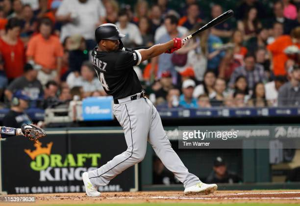 Eloy Jimenez of the Chicago White Sox bats in the second inning against the Houston Astros at Minute Maid Park on May 23 2019 in Houston Texas